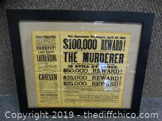 Reproduction Wanted Sign  (MURDER OF President Lincoln
