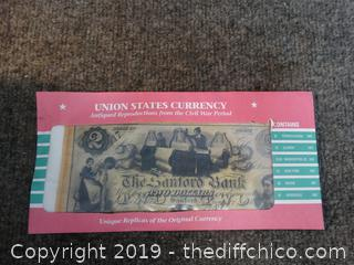 UNITED STATES CURRENCY Antiqued Reproduction from the Civil War Period