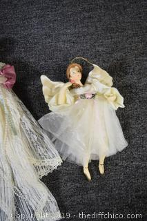 3 Porcelain Christmas Angel Ornaments