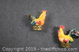 Pair of Vintage Rooster Wall Hanging Planters
