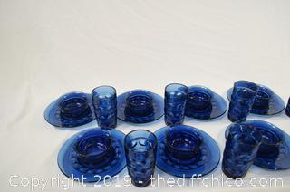 24 Pieces Blue Plates, Bowls and Glasses