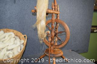 Vintage Spinning Wheel 47in tall plus Accessories