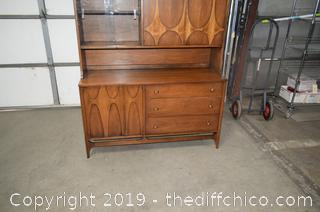 Vintage Teakwood 2 Piece Hutch