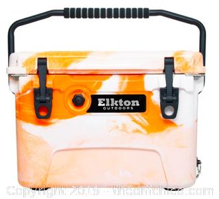 Elkton Outdoors 20 Quart Ice Chest With Bottle Opener, Drain Plug & Freezer Gasket Seal - Orange (J8)