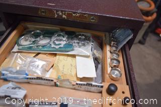 Watch Repair Cabinet w/Watch Parts