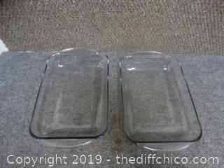 2 Glass Cake Or Casserole Pans