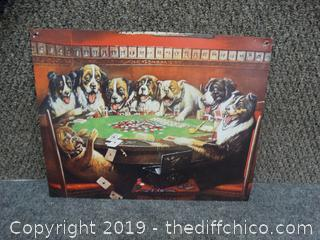 8 Drunken Dogs Playing Cards Tin Sign