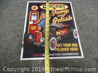 Quickies Pump And Polish Tin Sign