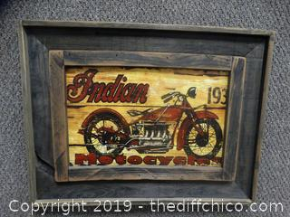 Indian Motorcycle Wood Picture