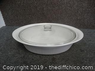 French White Corning ware with lid