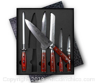 Zelancio 6 Piece Hammered Damascus Steel Knife Set (J18)