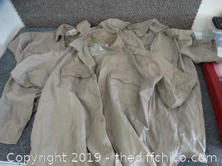 3 Tan Uniform Shirts