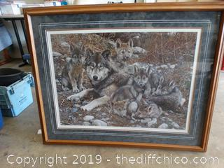 Den Mother Wolf Family BY Carl Brenders signed Numbered with COA # 12,028 OF 25,000