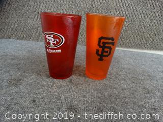SF Giants & SF 49ER Glasses