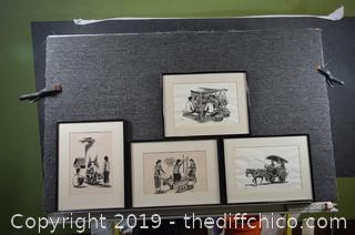 Set of 4 Framed Originals
