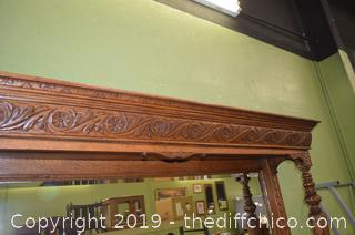 1800's 2 Piece French Carved Hutch w/Beveled Mirror