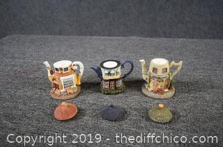 3 Home Town Collectible Tea Pots