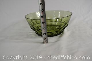 Green Glass Salad Bowl