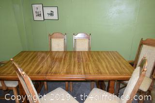 Table, Leaf and 6 Chairs