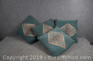 4 Green Pillows