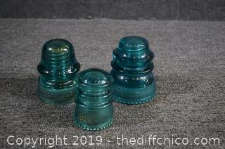3 Glass Insulators