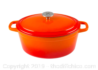 Zelancio 6 Quart Oval Enameled Cast Iron Dutch Oven with Lid - Orange (J4)