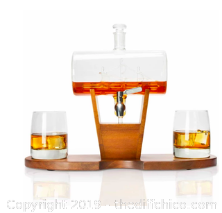 Atterstone Whiskey Cylinder Sail Boat Decanter Set (J20)