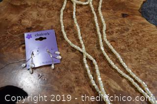 30in long Fresh Water Pearls and Earrings