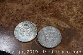 2 Kennedy Half Dollars 90% Silver