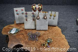 5 Pair of Earrings, 2 Brooches and 1 Button Cover