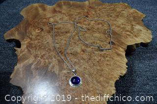 30in long Sterling Silver Blue Glass Pendant