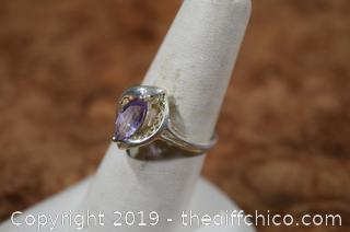 Sterling Silver Ring Size 8 w/Amethyst
