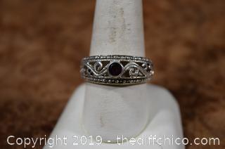 Sterling Silver Ring Size 10 w/Garnet