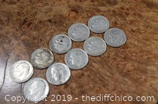 10 Roosevelt Dimes 90% Silver
