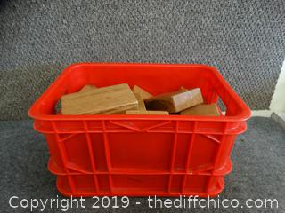 Red Crate With Wood Pieces