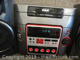 RCA  5 Disc CD Changer Radio with Bass Reflex  Speakers