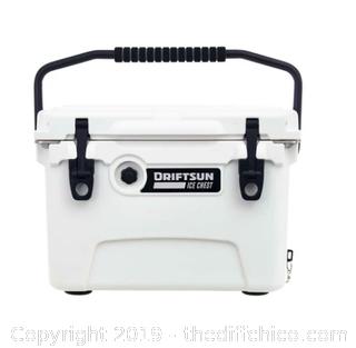Driftsun 20 Quart Performance Ice Chest - Insulated Rotomolded Cooler White (J2)