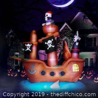 Holidayana 10 ft Wide Haunted Pirate Ship Halloween Inflatable (J3)