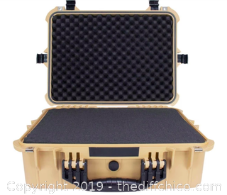 Elkton Outdoors Hard 5 Pistol Gun Case With Locking Holes TAN (J7)