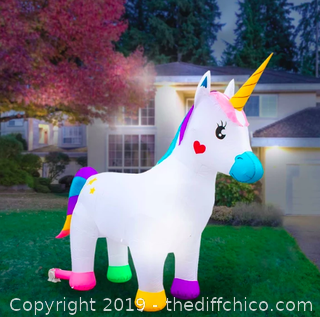 Holidayana Inflatable Unicorn Decoration with Built-In Fan and LED Lights (J13)
