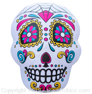 Holidaya Inflatable Halloween Skull Decoration with Built-In Fan and LED Lights (J22)