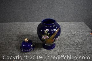 Blue Ginger Jar w/Lid