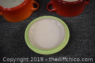 2 Le Creuset Stoneware Dishes w/3 Lids