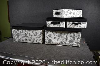 Black and White Storage Boxes w/Lids