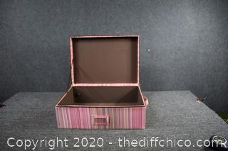 Pink Stripped Storage Box w/zipper