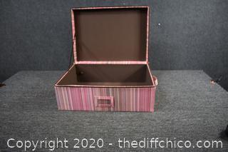 Pink Stripped Storage Box w/zipper