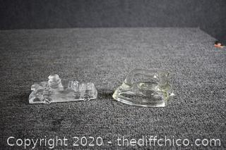 2 Glass Candy Holders