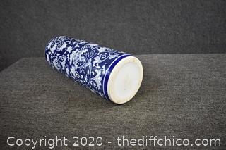 Blue and White Umbrella Stand