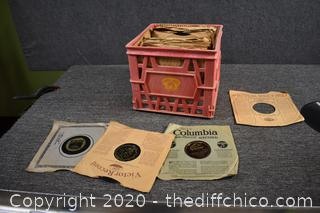 Crate of Vintage 78 Records