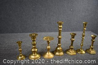 7 Brass Candle Holders